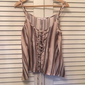 Tops - OLIVACEOUS LACE UP EARTH -TONES TOP SIZE L